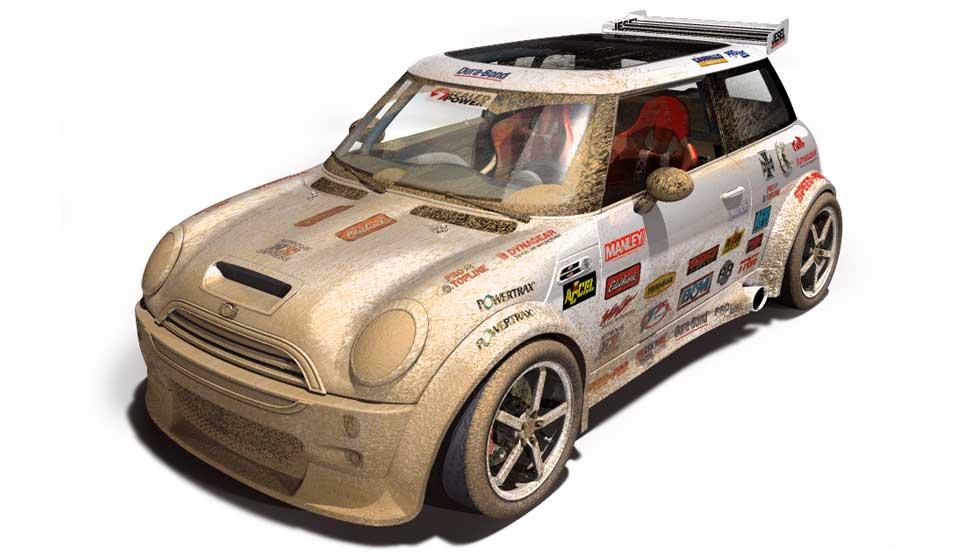 3D Model of Mini Cooper S rallye muddied © John Van Straalen